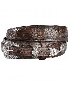 Jack Daniel's Brown Embossed Croc Print Ranger Leather Belt