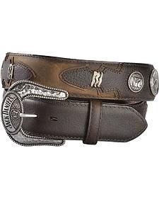 Jack Daniel's Brown Rawhide Lacing & Logo Concho Western Belt