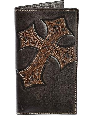 Nocona Tooled Cross Overlay Rodeo Wallet