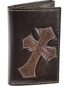 Nocona Tooled Cross Overlay Tri-fold Wallet