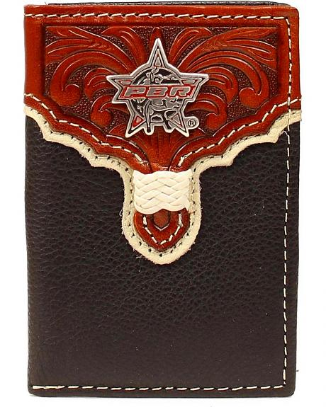 PBR Star Concho Tooled Overlay Tri-fold Wallet