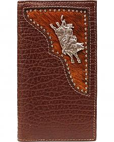 PBR Hair-on Hide Inlay Bull Rider Concho Rodeo Wallet