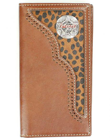 PBR Concho Leopard Print Hair-on Hide Inlay Rodeo Wallet