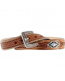 Ariat Sands Saddle Basketweave & Tooled Billets Belt