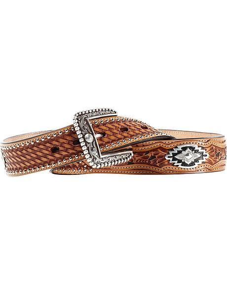 Ariat Sands Saddle Basketweave & Tooled Billets Belt