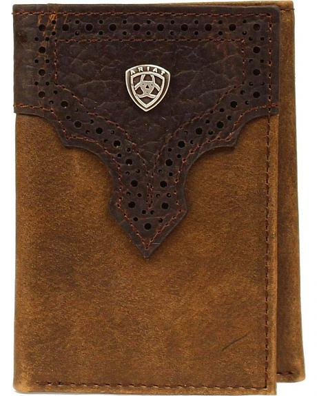 Ariat Perforated Overlay Tri-fold Wallet