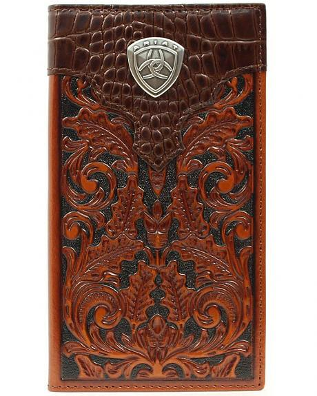 Ariat Croc Print Overlay Tooled Rodeo Wallet