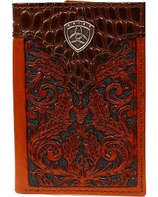 Ariat Gator Print Overlay Tooled Tri-fold Wallet