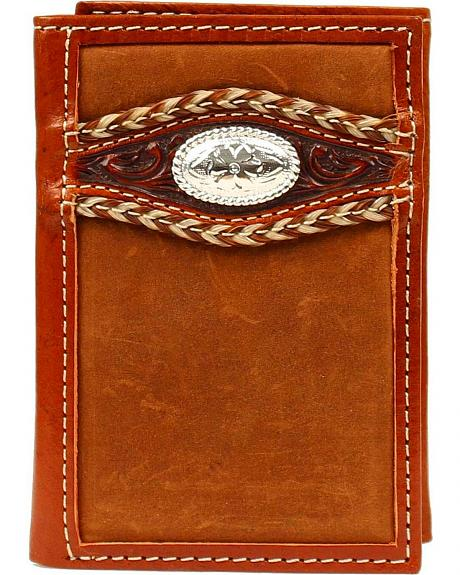 Ariat Tooled Overlay Concho Tri-fold Wallet