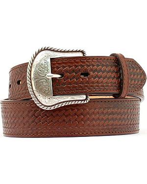 Double S Basketweave Embossed Leather Belt