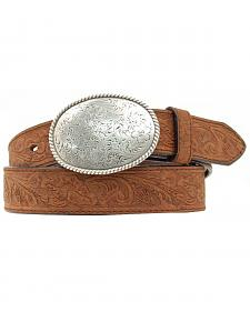 Double S Floral Embossed Oval Tooled Buckle Leather Belt