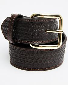 Double S Basketweave Embossed Money Pocket Leather Belt