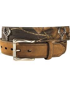 Nocona Mossy Oak Skull Concho Leather Belt