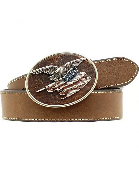 American Flag with Eagle Buckle Leather Belt