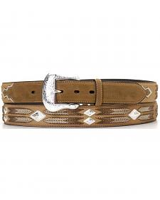 Leather Overlay String Lacing Diamond Concho Belt