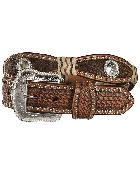 Nocona Scalloped Hair on Hide Basketweave Concho Leather Belt
