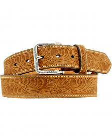Double S Floral Embossed Leather Belt