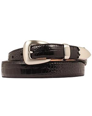 Double Barrel Gator Print Leather Belt