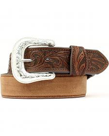 Tooled Tab Leather Belt