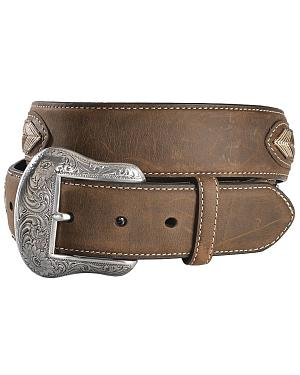 Leather Overlay String Lace Concho Belt
