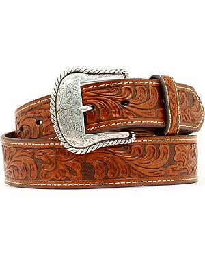 Floral Embossed Leather Belt