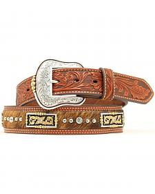 Floral Tooled Hair on Hide Inlay Concho Studded Belt