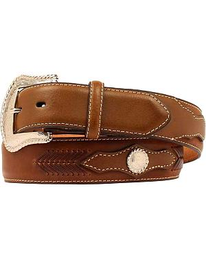 Nocona Scalloped Overlay with Concho Leather Arrow Lacing Belt