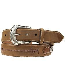 Nocona Scalloped Overlay with Conchos Shoelace Stitched Belt