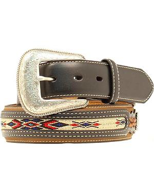 Nocona Leather Overlay Colorful Embroidered Belt
