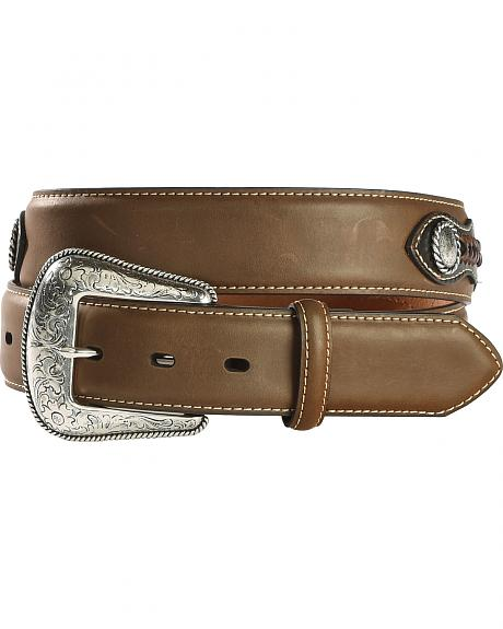 Nocona Leather Overlay Laced Concho Belt