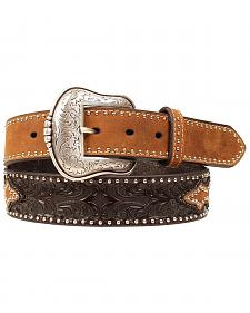 Smooth & Tooled Studded Leather Belt