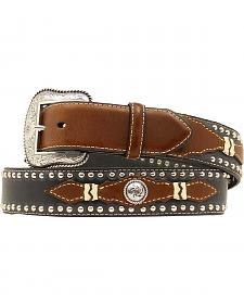 Black & Brown Leather Overlay & Concho Studded Belt