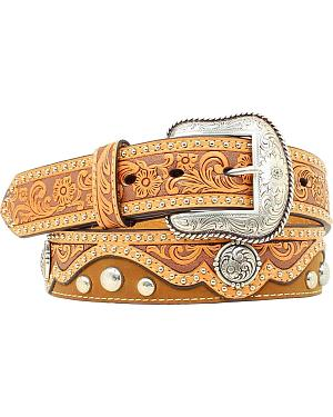 Nocona Fancy Floral Tooled Overlay w/ Conchos Belt