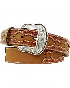 Nocona Fancy Tooled Overlay Belt