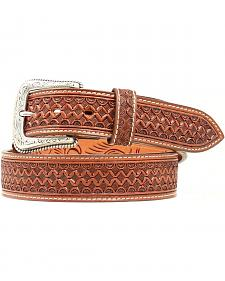 Nocona Fancy Tooled Basketweave Leather Belt