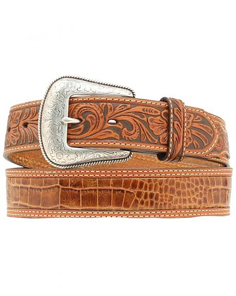 Nocona Gator Print Tooled Billet Western Belt