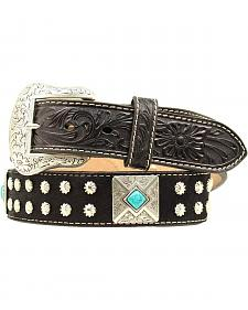 Nocona Faux Turquoise Concho Hair-on-Hide Belt