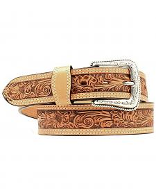 Nocona Floral Embossed Leather Belt