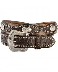 Nocona Embellished Tooled Leather Overlay Belt