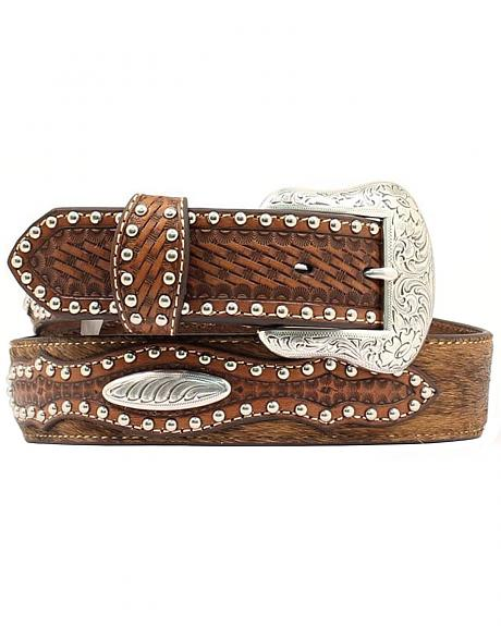 Nocona Basketweave & Studded Billets Hair-on-Hide Belt