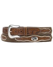Nocona Cowboy Prayer Concho Tooled Billets Belt