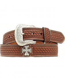 Nocona Basketweave Rhinestone Cross Concho Belt