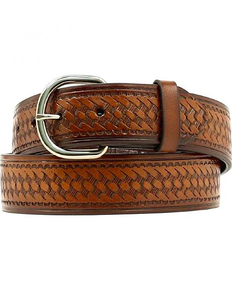 Hired Hand Stamped Basketweave Leather Belt