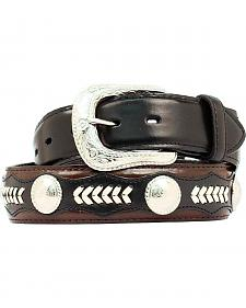 Nocona Leather Overlay & Laced Concho Belt