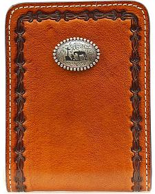 Nocona Barbed Wire Embossed Praying Cowboy Concho Bi-Fold Wallet