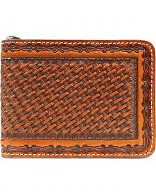 Nocona Basketweave Barbed Wire Embossed Bi-Fold Wallet