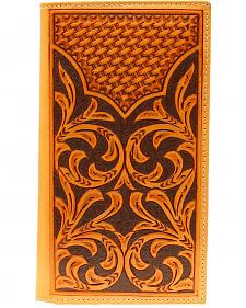 Nocona Floral Tooled w/ Basketweave Overlay Rodeo Wallet