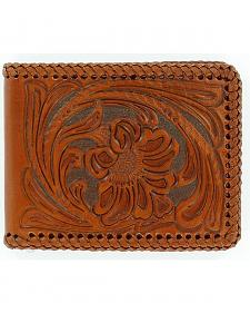 Nocona Floral Tooled Leather Laced Bi-Fold Wallet