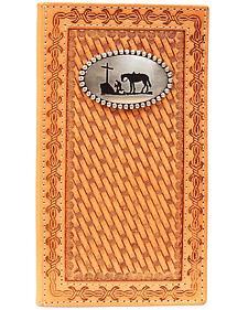 Nocona Basketweave Cowboy Prayer Concho Rodeo Wallet