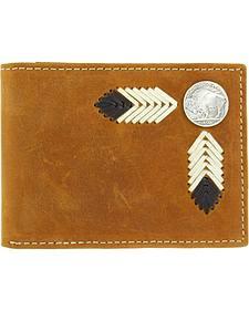Nocona Buffalo Concho Leather Laced Bi-Fold Wallet